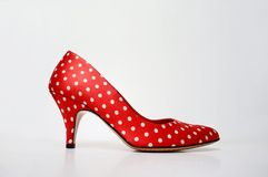 High heels: Sexy red polkadot pumps Royalty Free Stock Photo