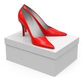 High heels on a shoe carton Stock Image