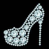 High heels shoe. Made of diamonds Stock Photos