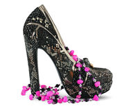 High heels shoe and necklace Royalty Free Stock Image