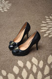 High Heels Shoes. A photo taken on a pair of black colored high heels shoes stock image
