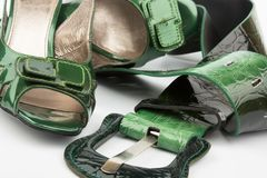 High heels shoes and belt Royalty Free Stock Photography