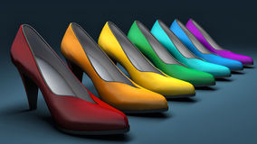 High heels shoes on blue background Royalty Free Stock Photos