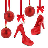 High heels shoes and Christmas balls Royalty Free Stock Photography