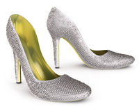 High heels shoes with diamonds. High heels shoes isolated on white Royalty Free Stock Photo