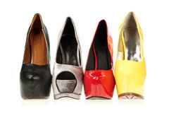 High Heels shoes in different colours. Four different High Heels shoes with inner platform soles stock photography