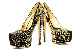 High heels shoes with inner platform an rhinestones Royalty Free Stock Photo