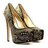 High heels shoes with inner platform and rhinestones Royalty Free Stock Photos