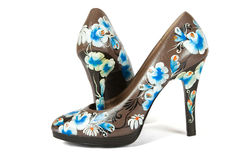 High heels shoes with printed flower Stock Photos