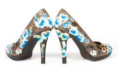 High heels shoes with printed flower Stock Photo