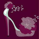High heels shoes retro style post card Stock Image