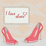 High heels shoes retro style post card Royalty Free Stock Photo