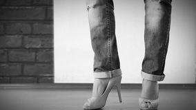 High heels shoes with ripped jeans Fashion Show stock video
