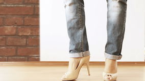 High heels shoes with ripped jeans Fashion Show stock footage