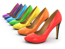 High heels shoes on white background. Stock Photos