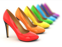 High heels shoes on white background. Stock Photo