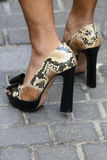 High heels shoes worn by a man Royalty Free Stock Images