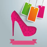 High Heels Silver Background 3 Pricestickers PiAd Stock Image