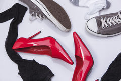 High heels and sneakers Royalty Free Stock Photos