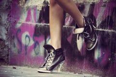 High heels sneakers Stock Images