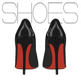 High heels stiletto vector shoes. Fashion woman illustration. Elegance leather luxury footwear. Sexy evening fetish red black feti. Sh accessory Stock Images