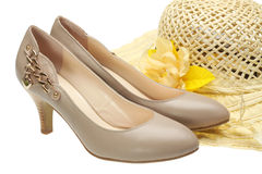 High Heels and Sun Hat Royalty Free Stock Photography
