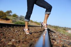 High Heels on Track Royalty Free Stock Image