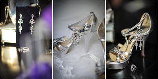 High heels wedding shoes. Rings, earrings and wedding accessories Royalty Free Stock Photography