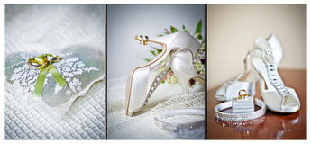 High heels wedding shoes. Rings and wedding accessories Royalty Free Stock Images