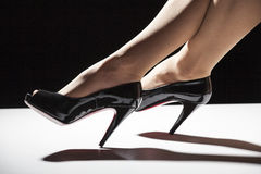 High heels. With women nylon feet Royalty Free Stock Photo
