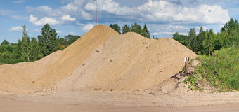 The high hill of the brought sand for construction in the wood. Stock Image
