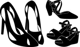 High hill shoes silhouette royalty free illustration