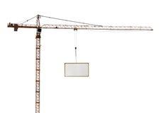 High hoisting crane with advertisement hoardin Royalty Free Stock Photo
