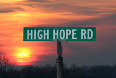 High Hope Street Sign. Street sign of High Hope against sunset Stock Photography