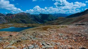 High Ice Lake Basin Wilderness Silverton Colorado Rocky Mountains. High Alpine Tundra , very dry extra warm rocky mountains from climate change and melting ice Stock Photos