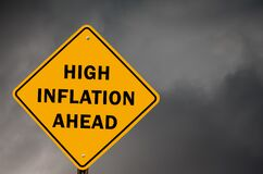 Free High Inflation Ahead Conceptual Traffic Sign With Stormy Sky In Background Stock Photos - 215741103
