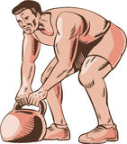 High Intensity Interval Training Kettlebell Etching. Etching engraving handmade style illustration of an athlete performing high intensity interval training Stock Photography