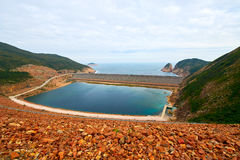 The High Island reservoir East dam of Hongkong. The photo was taken in High Island reservoir Sai kung East Country park Hongkong, China royalty free stock photography
