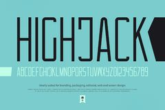 High jack. Minimalist style alphabet letters and numbers. vector font type design. contemporary lettering symbols. stylized, high typesetting. sans serif Stock Images