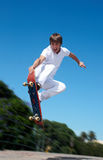 High jump. Skateboarder on a high jump Royalty Free Stock Photography