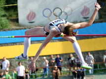 High jump. Olena Holosha competes at the high jump competition on Ukrainian Cup in Athletics, on May 27, 2012 in Yalta, Ukraine Royalty Free Stock Image