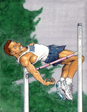 High jump. Hand made illustration of an athlete jumping high Stock Photo