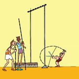 High jump athletes athletics. Summer sports games. Humor in sports. Pole vault Stock Images
