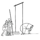 High jump athletes athletics. Summer sports games. Humor in sports. Pole vault. Black and white drawing for coloring Royalty Free Stock Image