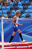 High jump decathlon france. MONCTON, CANADA - JULY 20: Kevin Mayer of France reacts after clearing the bar in the high jump as part of the decathlon during the stock photos
