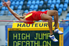 High jump decathlon spain. MONCTON, CANADA - JULY 20: Jonay Jordan of Spain (ESP) performs the high jump as part of the decathlon during the 2010 IAAF World stock images