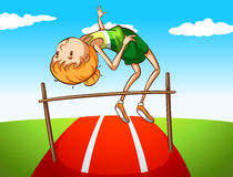 High jump. Girl doing high jump in the field royalty free illustration