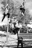 High jump. Little girl jumping really high Royalty Free Stock Photo