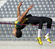 High jump male athlete canada. High jumper Ali er-Rahab at the Canadian Track & Field Championships June 22, 2013 in Moncton, Canada Stock Photography