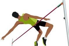 High jump male athlete Stock Image